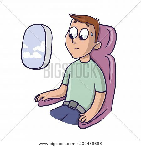 Worried frightened man in the airplane seat at the window. Fear of flying, aerophobia. Vector illustration, isolated on white background.