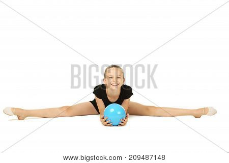 Young girl gymnast on the white background