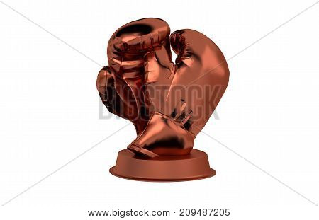 3D illustration of Boxing Gloves Bronze Trophy with a white background
