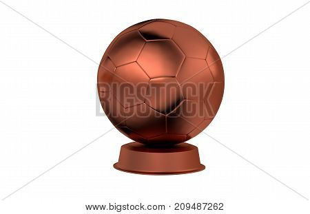 3D illustration of Football Bronze Trophy with a white background
