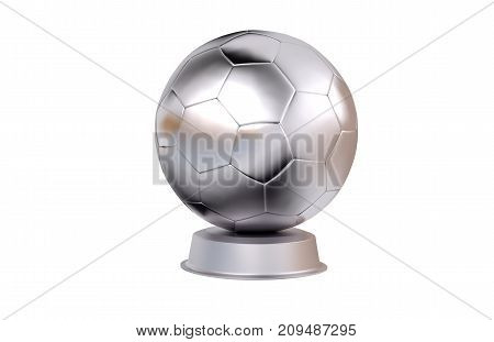3D illustration of Football Silver Trophy with a white background
