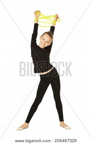 Young Girl Gymnast With Rope On White Background