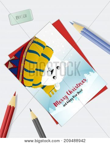 Christmas Holiday Card With A White Polar Bear. Merry Christmas And Happy New Year! Vector Illustrat