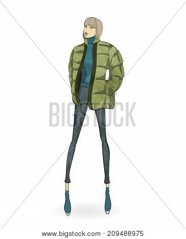 Autumn-winter 2018. Lovely Girl In A Jacket, On A White Background. Vector Illustration.