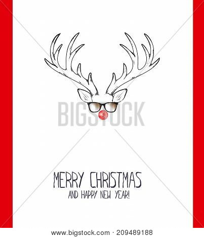 Merry Christmas And A Happy New Year. Postcard With Stylized Deer In Glasses With A Christmas Ball O