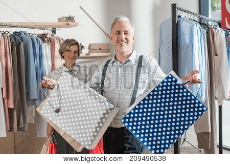 Man With Empty Shopping Bags