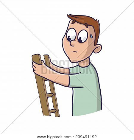 Fear of heights. A frightened young man up the stairs. Vector Illustration, isolated on white background.