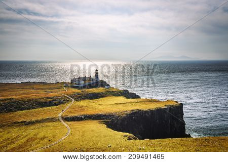 Neist Point lighthouse at Isle of Skye, Scottish highlands, United Kingdom.