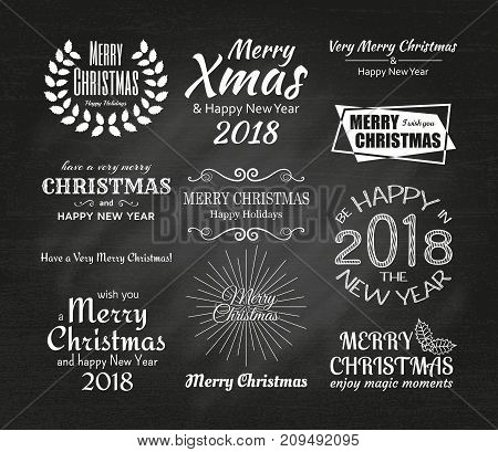 Merry Christmas and Happy New Year 2087 typography. Vector illustration