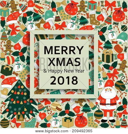 Christmas greeting card with text Merry Xmas and many winters toys. Vector illustration.