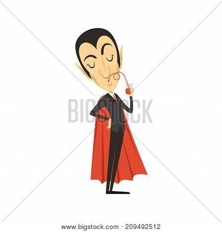 Count Dracula in black suit and red cape, drinking blood from pack. Dinner time. Gothic horror cartoon vampire character with fangs. Happy Halloween. Flat design vector illustration isolated on white.