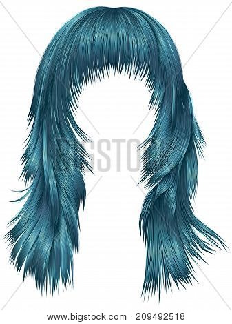 trendy woman long hairs blue colors . beauty fashion . realistic 3d
