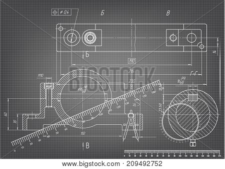 white drawing on a gray background, engineering