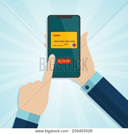 Hand holding smartphone and finger touching screen with credit card and button pay. Vector illustration.