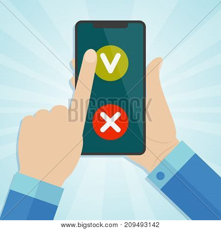 Hand holding smartphone and finger touching screen with check marks. Vector illustration.