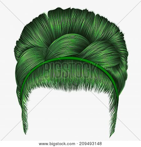 babette of hairs with pigtail green colors . trendy women fashion beauty style . realistic 3D . retro hairstyle .