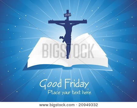 blue rays background with bible in jesus on cross