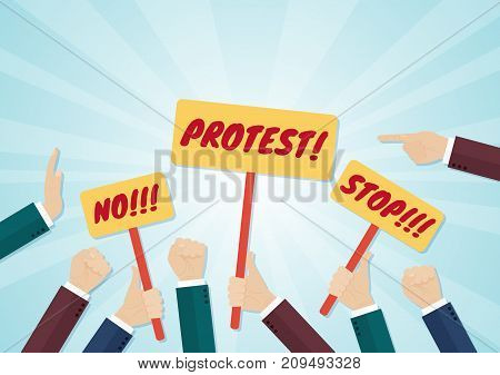 Crowd of hands holding protest signs and fists. Vector illustration