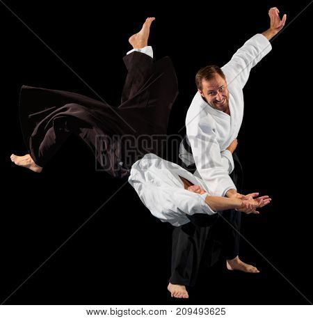 Two martial arts fighters isolated