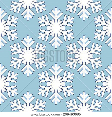 Seamless blue pattern with snowflakes. Vector Illustration