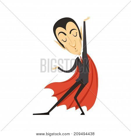 Count Dracula wearing black suit and red cape. Gothic horror cute cartoon dancing vampire character with fangs. Happy Halloween. Flat design. Enjoy dance. Vector illustration isolated on white.