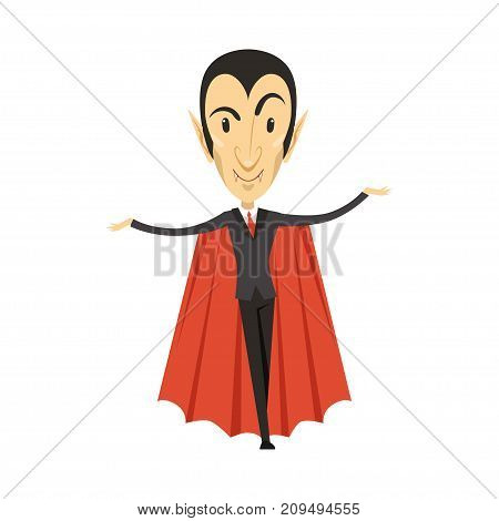 Count Dracula wearing black suit and red cape. Gothic horror cute cartoon vampire character with fangs. Happy Halloween. Man in costume. Flat design. Vector illustration isolated on white.