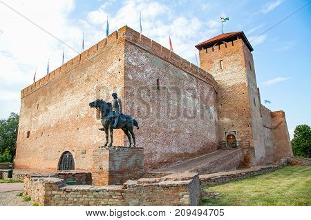 Picture of the medieval Gyula castle made of bricks