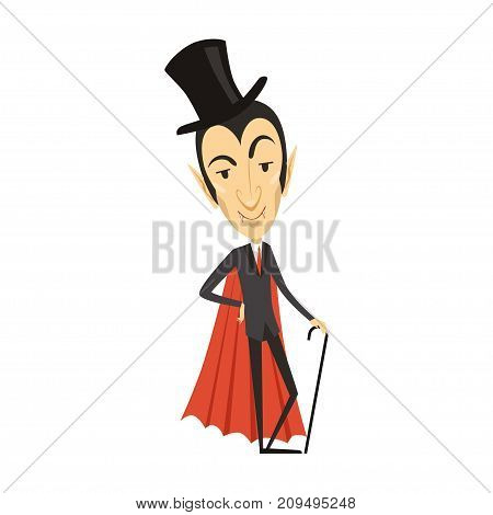 Count Dracula wearing black suit, red cape, cylinder hat and cane. Gothic horror cartoon intelligent vampire character with fangs. Happy Halloween. Flat design. Vector illustration isolated on white.