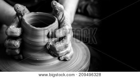 Making pot clay potter pottery wheel design closeup