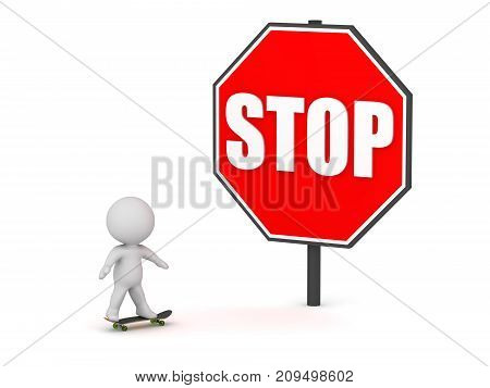 3D character riding a skateboard toward a large stop sign. Isolated on white background.