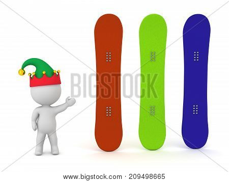 3D character in elf hat showing three snowboards. Isolated on white background.