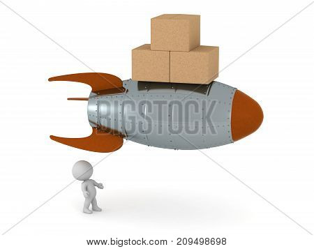3D character looking up at a rocket carrying cardboard boxes. Isolated on white background.