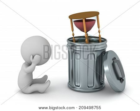 Stressed 3D character with an hourglass in a trash can. Isolated on white background.