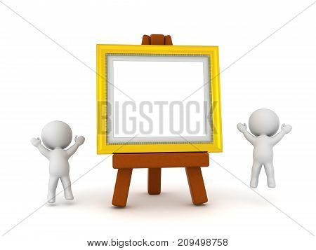 Two happy 3D characters jumping up next to a large painting frame on an easel. Isolated on white background.