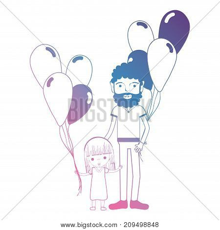 line father and dauther together with balloons design vector illustration