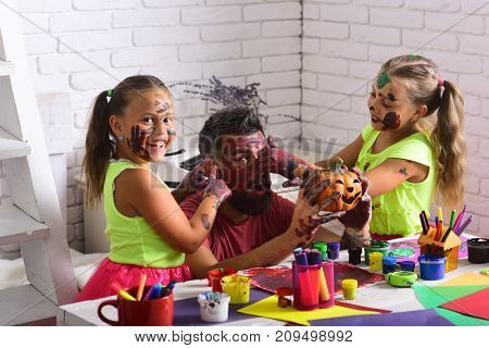 Halloween Family With Colorful Paint.