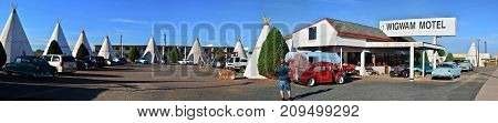 Holbrook Arizona - July 23 2017: Wigwam Motel on historic route 66 on July 23 2017 in Holbrook Arizona. The rooms of this hotel are built in the form of tipis.