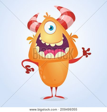 Cute cartoon silly orange horned monster with one eye. Vector bigfoot character