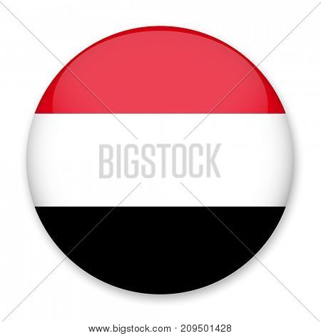 Flag of Yemen in the form of a round button with a light glare and a shadow. The symbol of Independence Day, a souvenir, a button for switching the language on the site, an icon.