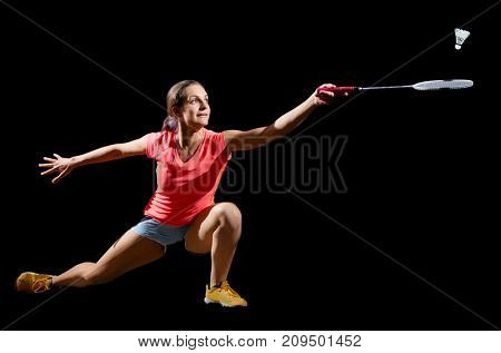 Young woman badminton player (full isolated ver)