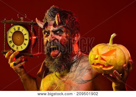 Halloween Satan With Beard, Wounds, Blood, Tattoo On Chest