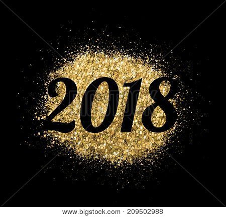 2018 of gold glitter on black background, symbol of New Year for your greeting card design.