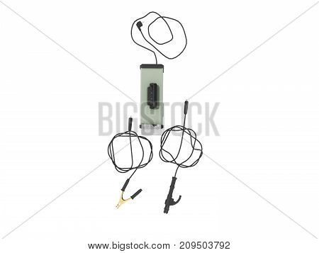 Inverter Welding Machine With Cable For Welding Electrodes With A Green Top 3D Render On A White Bac