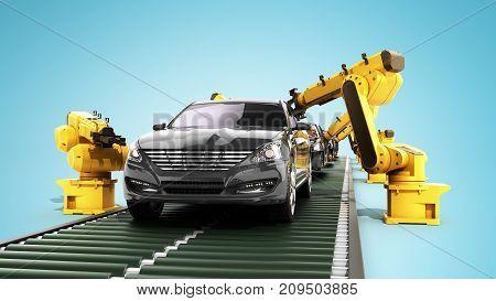 Robot Assembly Line In Car Factory 3D Render On Blue
