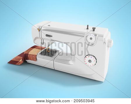 Modern Sewing Machine With Material For Seamstresses White Perspective 3D Render On A Blue Backgroun