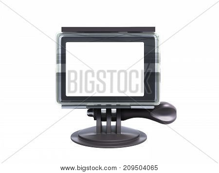Camera Action Cam 3D Render On A White Background No Shadow