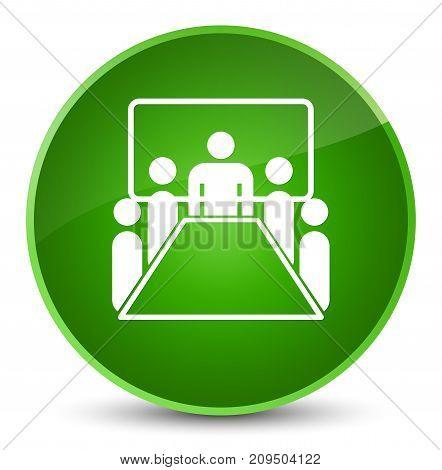 Meeting Room Icon Elegant Green Round Button