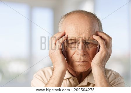 Head man old pain mature human face head and shoulders