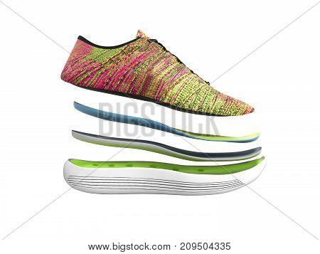 Pair Of Pink Sport Shoes By Layers 3D Render On White No Shadow