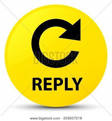 Reply (rotate Arrow Icon) Yellow Round Button